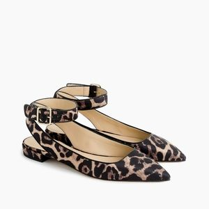 J. CREW Ankle-strap pointed-toe flats in leopard